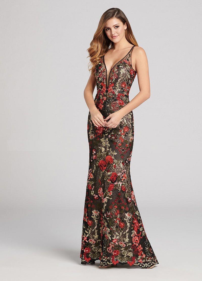 vestido-longo-preto-com-renda-colorida