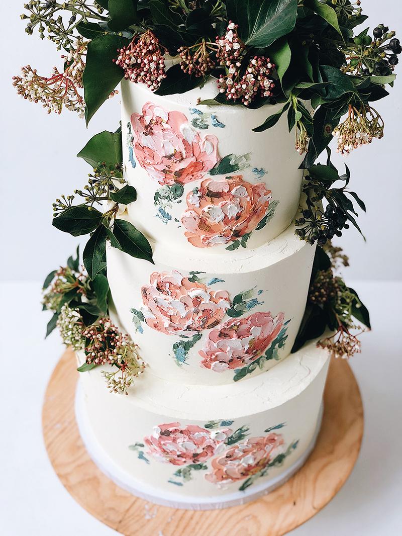bolo de casamento pintado à mão