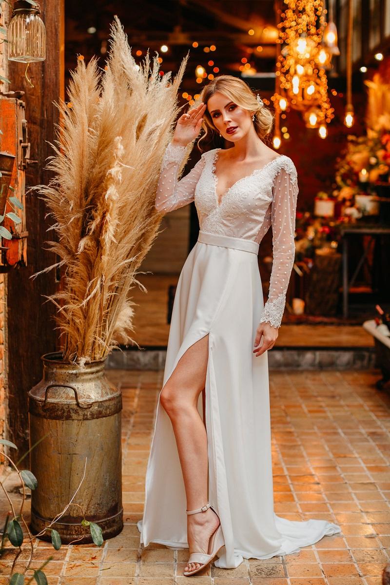 vestido de noiva com manga longa