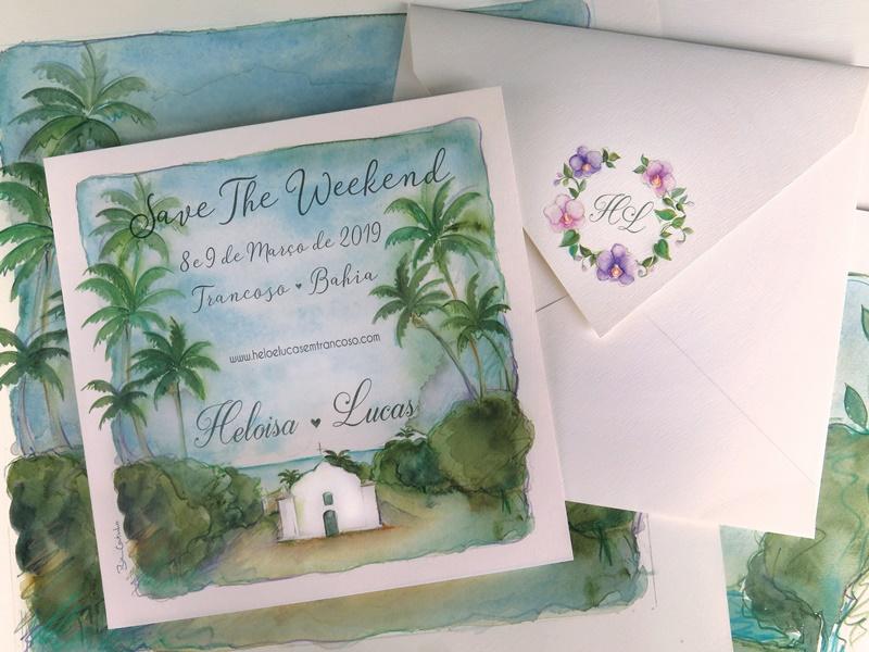 convite e papelaria de casamento no verão
