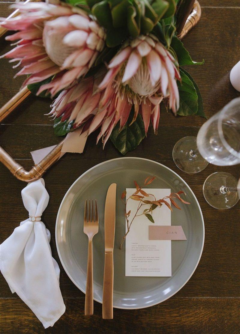 decoração-com-protea-rosa