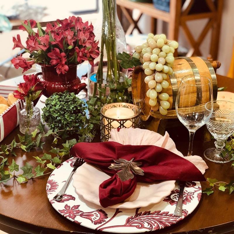 decoração com frutas e flores