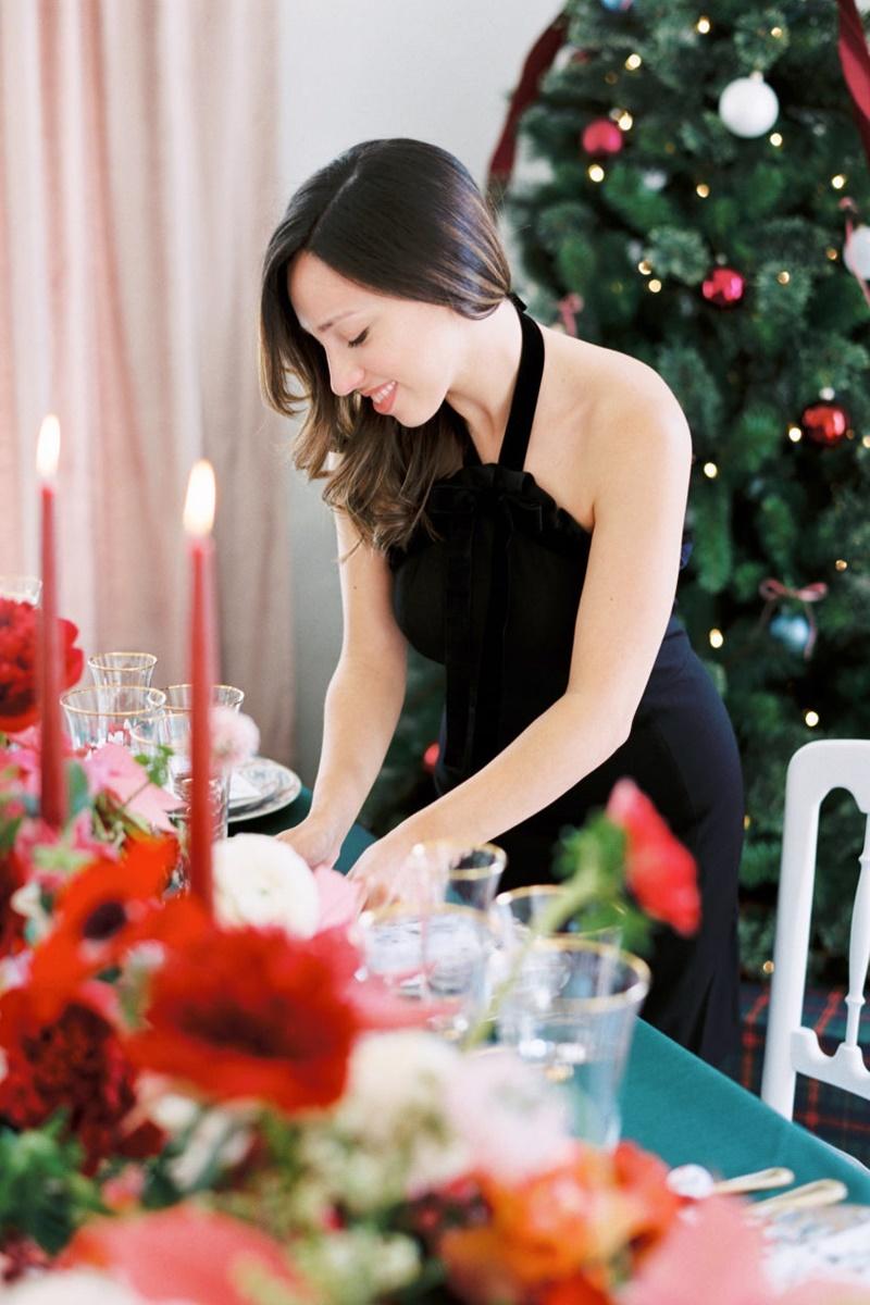 organização da mesa posta de natal