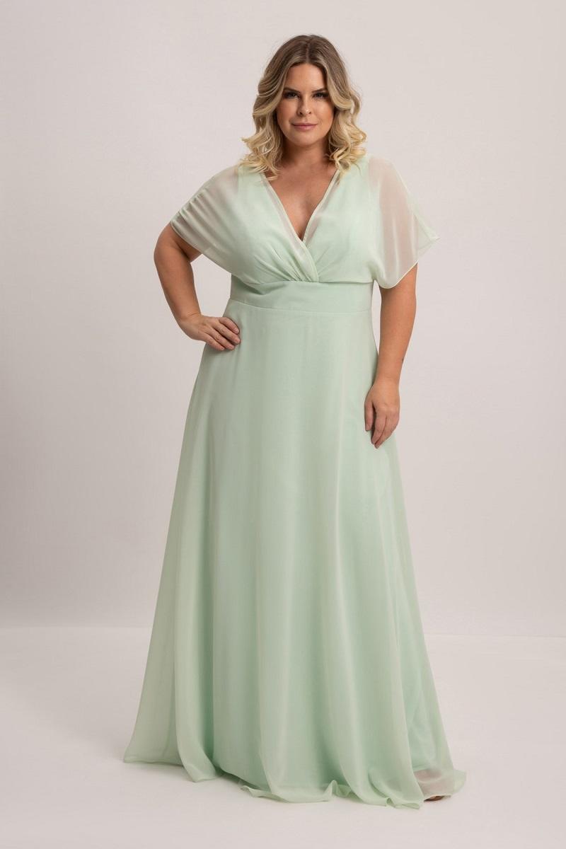 vestido verde menta para plus size