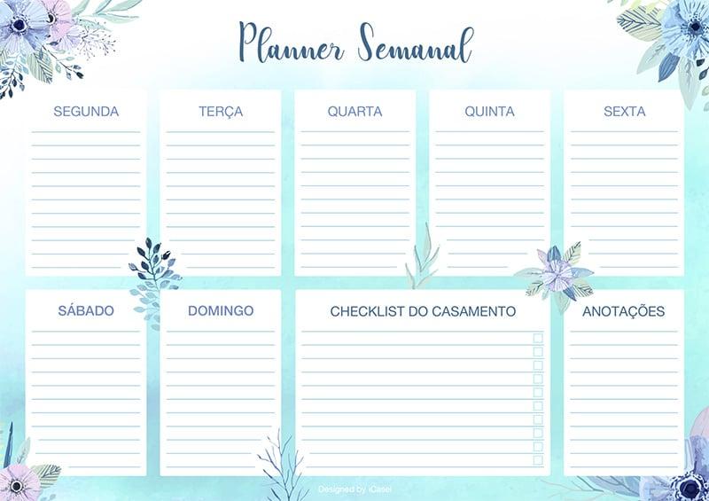 planejamento do casamento planner semanal iCasei