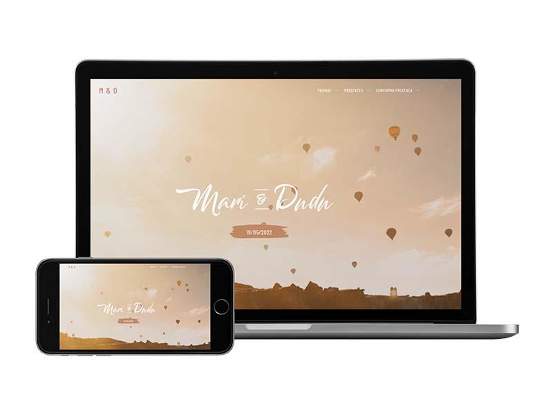 layout site de casamento