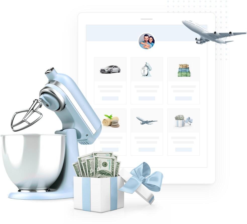 Lista de presente convertida em dinheiro com imagem de diversos produtos, como avião, batedeira, presentes