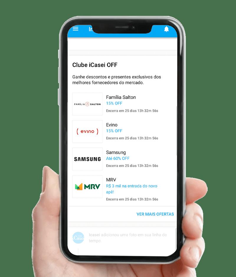 Imagem mostra clube de vantagens icasei na tela de um celular