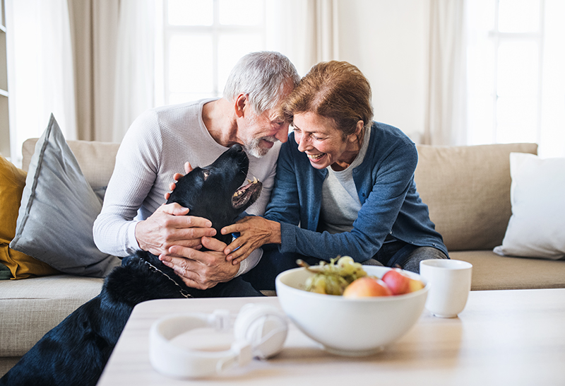 casal mais velho de homem e mulher sorrindo e brincando com um cachorro